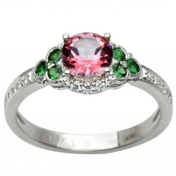 Каблучка з діамантами та кольоровим камінням 981-1989