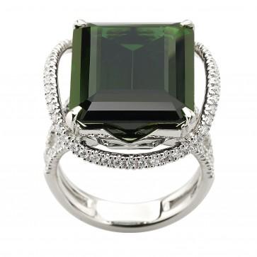 Каблучка з діамантами та кольоровим камінням 981-2025