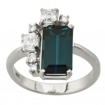 Каблучка з діамантами та кольоровим камінням 981-3029