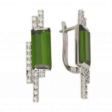 Сережки з діамантами та кольоровим камінням 982-0362