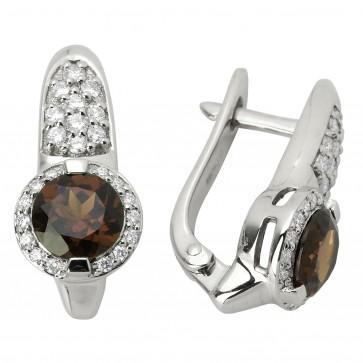 Сережки з діамантами та кольоровим камінням 982-0542