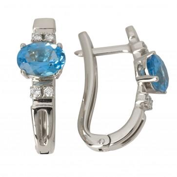 Сережки з діамантами та кольоровим камінням 982-0677