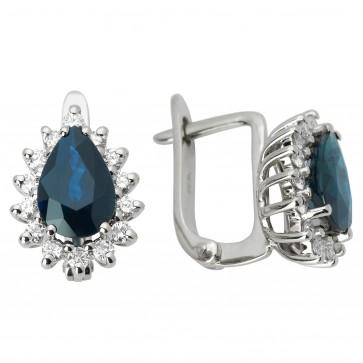 Сережки з діамантами та кольоровим камінням 982-0682