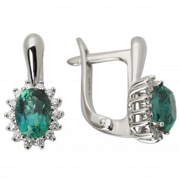 Сережки з діамантами та кольоровим камінням 982-0683