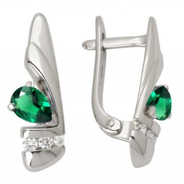 Сережки з діамантами та кольоровим камінням 982-0738