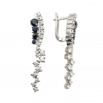 Сережки з діамантами та кольоровим камінням 982-0757