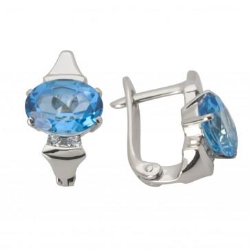 Сережки з діамантами та кольоровим камінням 982-0783