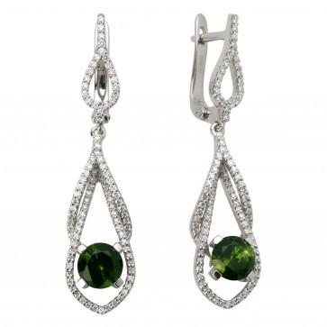 Сережки з діамантами та кольоровим камінням 982-0920
