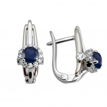 Сережки з діамантами та кольоровим камінням 982-0934
