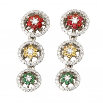 Сережки з діамантами та кольоровим камінням 982-0971
