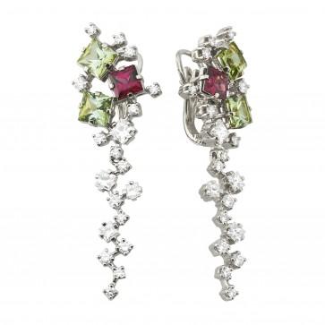 Сережки з діамантами та кольоровим камінням 982-0984