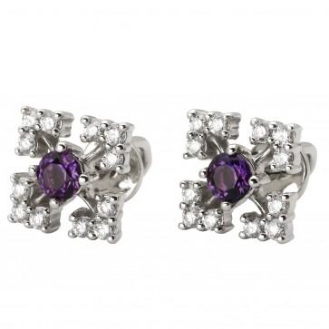 Сережки з діамантами та кольоровим камінням 982-1062