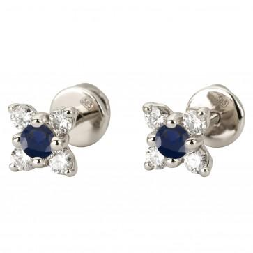 Сережки з діамантами та кольоровим камінням 982-1134