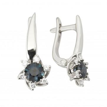 Сережки з діамантами та кольоровим камінням 982-1157