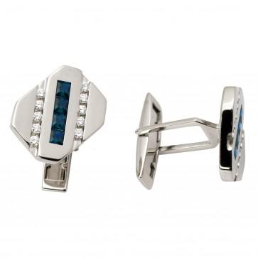 Запонки з діамантами та кольоровим камінням 986-0056