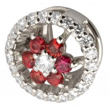 Підвіска з діамантами та кольоровим камінням 989-0676