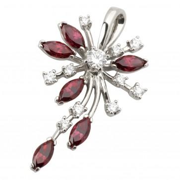 Підвіска з діамантами та кольоровим камінням 989-0691