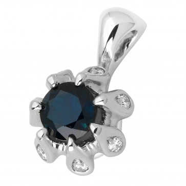 Підвіска з діамантами та кольоровим камінням 989-0750