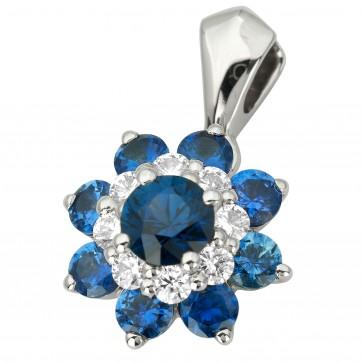 Підвіска з діамантами та кольоровим камінням 989-0841