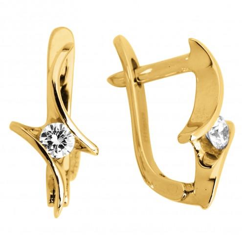 Сережки з 1 діамантом 022-0402