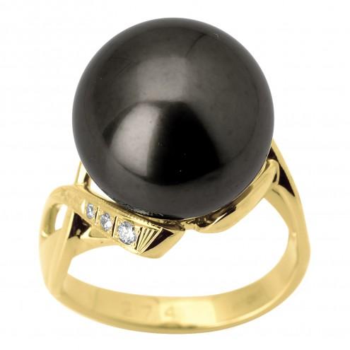 Каблучка з перлиною та діамантами 061-1308