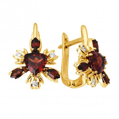 Сережки з діамантами та кольоровим камінням 082-0973