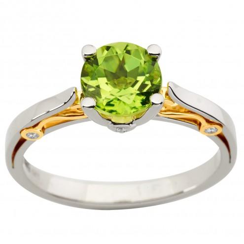 Каблучка з діамантами та кольоровим камінням 381-1908