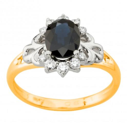 Каблучка з діамантами та кольоровим камінням 381-2006