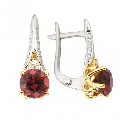 Сережки з діамантами та кольоровим камінням 382-1257