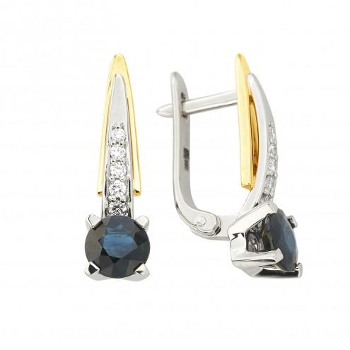 Сережки з діамантами та кольоровим камінням 382-2074