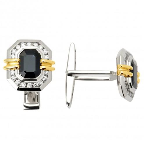 Запонки з діамантами та кольоровим камінням 386-0044