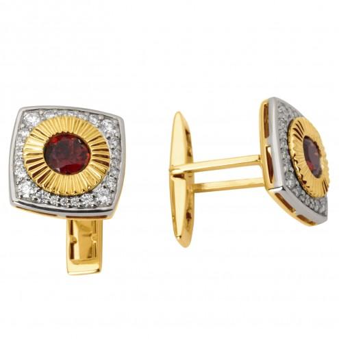 Запонки з діамантами та кольоровим камінням 386-0058