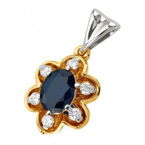 Підвіска з діамантами та кольоровим камінням 389-0842