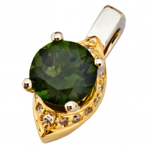 Підвіска з діамантами та кольоровим камінням 389-0848