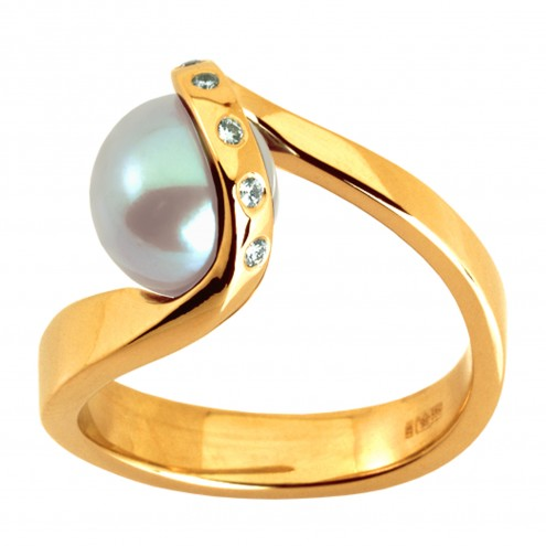 Каблучка з перлиною та діамантами 761-0225