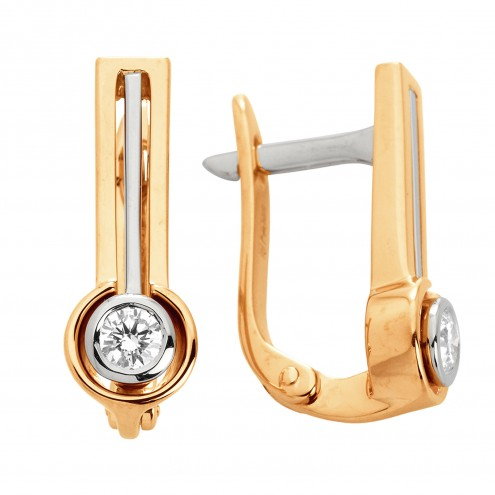 Сережки з 1 діамантом 822-0872