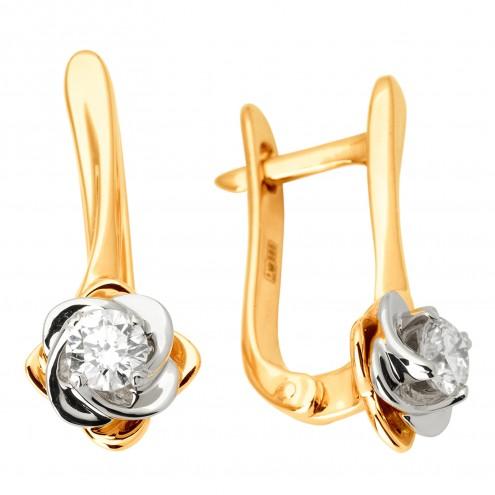 Сережки з 1 діамантом 822-1111