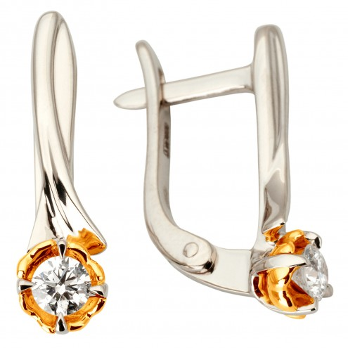 Сережки з 1 діамантом 822-1141