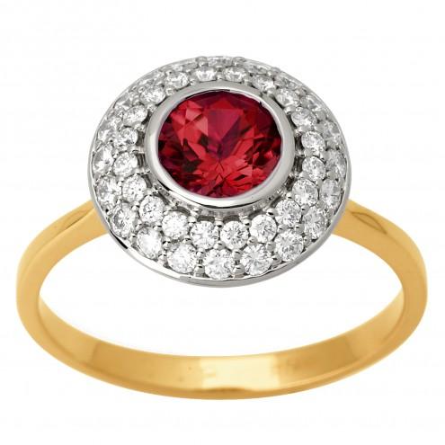 Каблучка з діамантами та кольоровим камінням 881-1595