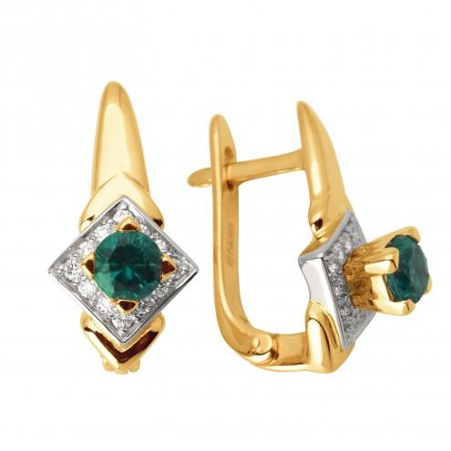 Сережки з діамантами та кольоровим камінням 882-0895