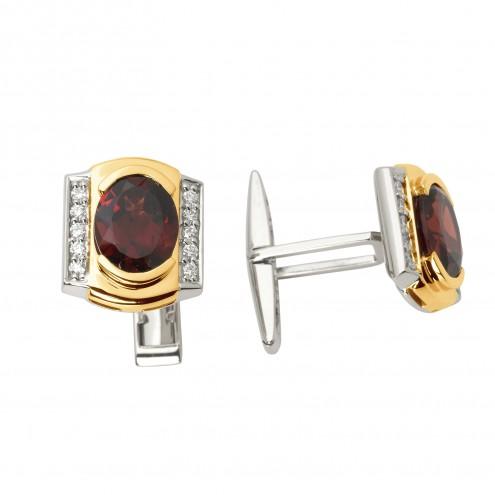 Запонки з діамантами та кольоровим камінням 886-0050