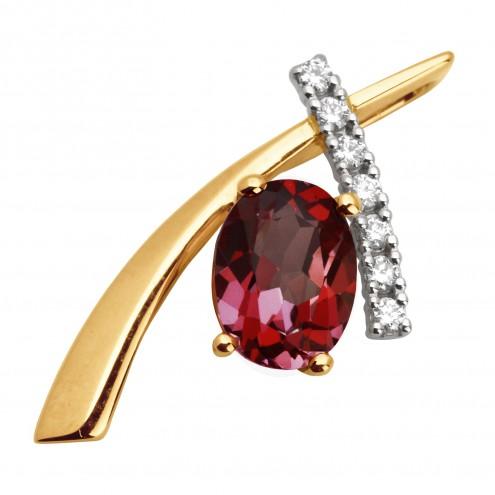 Підвіска з діамантами та кольоровим камінням 889-0401