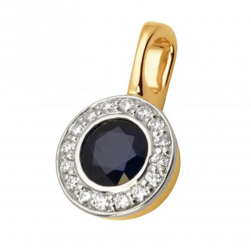 Підвіска з діамантами та кольоровим камінням 889-0633