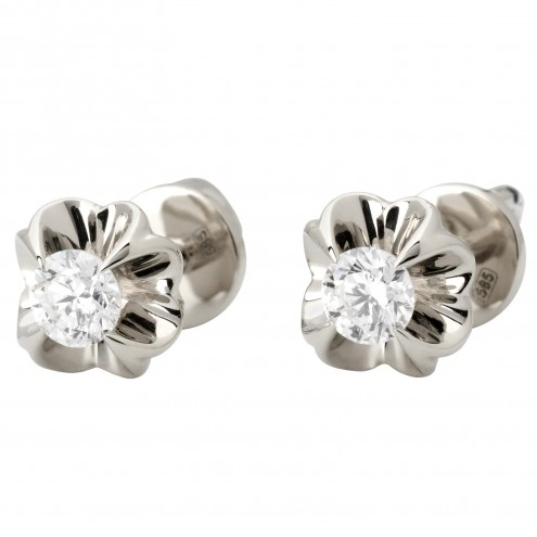 Сережки з 1 діамантом 922-1070