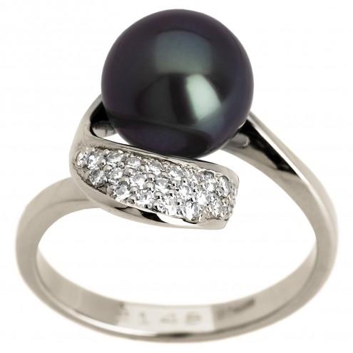 Каблучка з перлиною та діамантами 961-0773