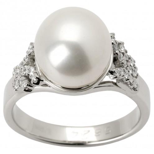 Каблучка з перлиною та діамантами 961-1232