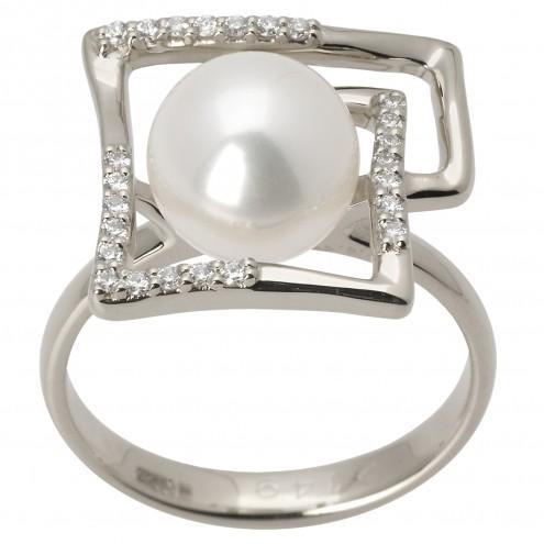 Каблучка з перлиною та діамантами 961-1388