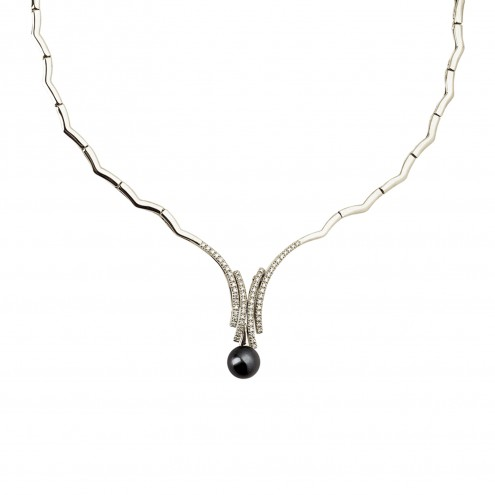 Кольє з перлиною та діамантами 967-0050