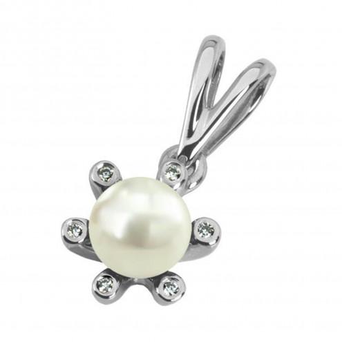 Підвіска з перлиною та діамантами 969-0092