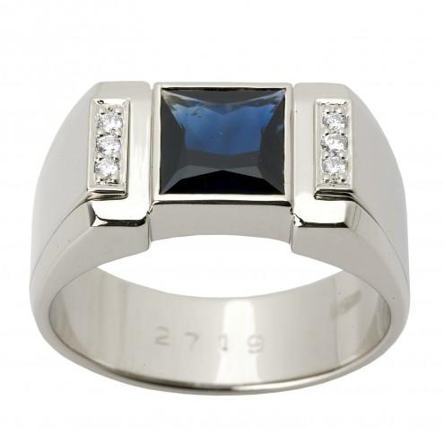 Перстень з діамантами та кольоровим камінням 981-1284